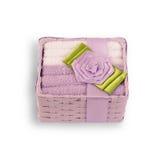 Farbige Tücher für das Waschen in einer Geschenkbox Lizenzfreie Stockfotos