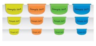 Farbige Textkennsätze auf Papier Stockbild