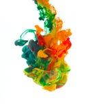 Farbige Tinte lokalisiert auf weißem Hintergrund Stockfotografie