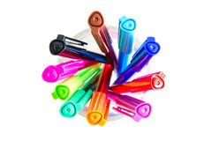 Farbige Tintenstifte Stockfotos