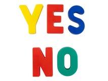Farbige Wörter YES und NR. Stockfoto