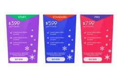 Farbige Weihnachtsfahne für Tarife, ein Satz Preiskalkulationstabellen und Kästen Lizenzfreies Stockfoto