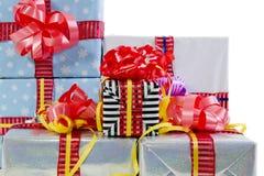 Farbige Weihnachtsgeschenkkastenbeschaffenheit Lizenzfreies Stockbild