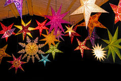 Farbige Weihnachtssterne Stockfotos