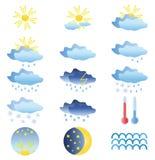 15 farbige Wetterikonen Lizenzfreies Stockbild