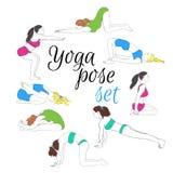 Farbige Yogahaltungen eingestellt, von Hand gezeichnetes Bild Lizenzfreie Stockfotografie
