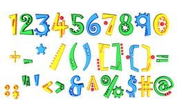 Farbige Zahlen 3d getrennt auf weißem Hintergrund Stockbilder