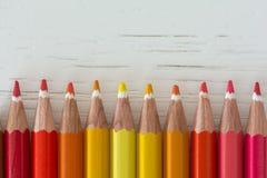 Farbige Zeichenstifttipps Stockfoto