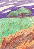 Farbige zeichnende Lichtung mit Bäumen, Steine und Blumen sowie ein purpurroter Himmel Passend für ein Plakat, T-Shirt Druck, Pos stock abbildung