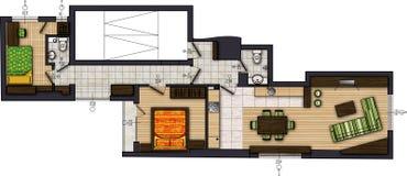 Farbige Zeichnung der Wohnung Lizenzfreie Stockbilder