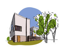 Farbiger Architekturskizzenvektor Lizenzfreie Stockbilder