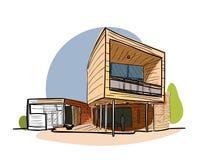 Farbiger Architekturskizzenvektor Lizenzfreies Stockbild