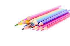 Farbiger Bleistift lokalisiert auf weißem Hintergrund Stockfotos