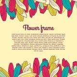 Farbiger Blumenrahmen mit Platz für Ihren Text Lizenzfreie Stockfotos