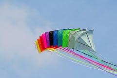 Farbiger Drachen, glücklicher Aufbau Lizenzfreie Stockfotos