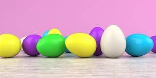 Farbiger Easter Egg-Holztisch lizenzfreie abbildung