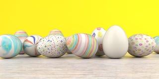 Farbiger Easter Egg-Holztisch stock abbildung