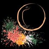 Farbiger Entwurf des Pfirsiches mit Flecken, Vektorillustration Stockfotografie