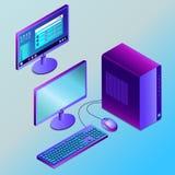 Farbiger futuristischer Arbeitsplatzrechner in der isometry Vektorillustration vektor abbildung