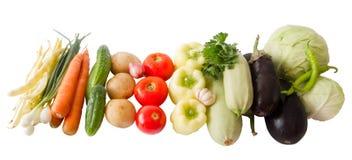 Farbiger Gemüseaufbau getrennt auf Weiß stockbilder