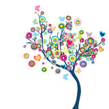 Farbiger glücklicher Baum mit Blumen und Basisrecheneinheiten vektor abbildung