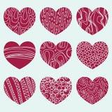 Farbiger Hintergrund mit neun Herzen lizenzfreie abbildung