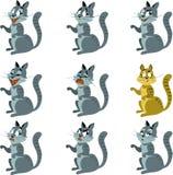 Farbiger Hintergrund mit neun Katzen stock abbildung