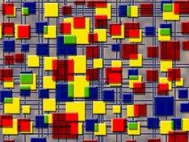 Farbiger Hintergrund, Quadrate und Linien Stockbild