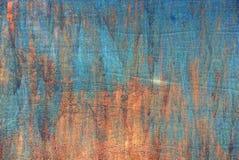 Farbiger Hintergrund von einem Stück einer alten Eisenplatte Stockbild