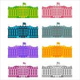 farbiger Ikonensatz des Weißen Hauses Amerika Wohnsitz von Präsidenten USA Stockfoto