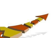 Farbiger Pfeil auf einem weißen Hintergrund, oben fliegend, gebrochen in Stücke vektor abbildung