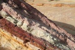 Farbiger Sandstein im Wüste Negev Stockbilder