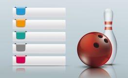 5 farbiger Vorsprungs-Spiegel rollendes Pin Red Ball Stockfotos