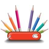 Farbiges Bleistift-Messer-AllzweckDesign Lizenzfreies Stockfoto