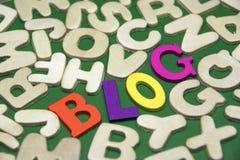 Farbiges Blog-Zeichen auf grünem Hintergrund mit verschiedenen Buchstaben Lizenzfreie Stockfotos