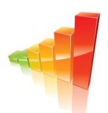 Farbiges Diagramm 3d, das aufwächst Stockfotos