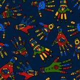 Farbiges ethnische Handnahtloses Muster lizenzfreie abbildung