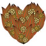 Farbiges Herz in zentangle Art, Blättern und Blumen Kopieren Sie für Malbuch der valentins Tages Rot, grün, Gelb Stockfotos