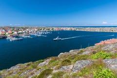 Farbiges houses village de Smogen in Schweden Stockfotos