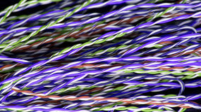 Farbiges kupfernes Kabel des Drahttelefons lizenzfreies stockbild