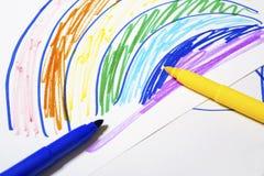 Farbiges Markierungsstiftmalen und -papier Lizenzfreies Stockfoto