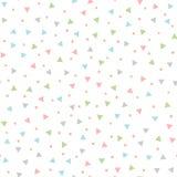 Farbiges nahtloses Muster mit dem Wiederholen von Dreiecken und von runden Stellen Eigenhändig gezeichnet stock abbildung