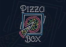 Farbiges Neonpizzakastenzeichen Lizenzfreies Stockbild