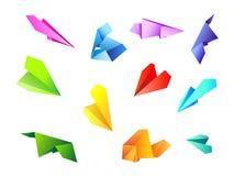 Farbiges Papier airplanes1 Lizenzfreie Stockfotos