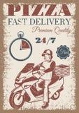 Farbiges Plakat der Pizzalieferung Weinlese Stockfoto
