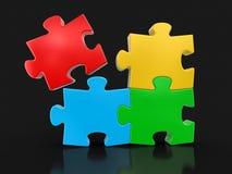 Farbiges Puzzlespiel (Beschneidungspfad eingeschlossen) Lizenzfreie Stockfotografie