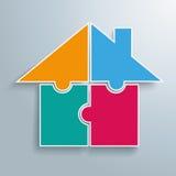 Farbiges 4 Puzzlespiel-Haus Stockfoto