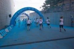 Farbiges Rennen in Genua Stockbild