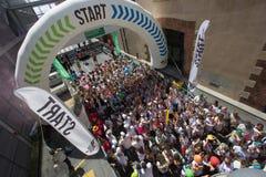 Farbiges Rennen in Genua Stockfotografie