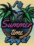 Farbiges Retro- Plakat mit den Palmen, zum einer touristischen Reise zu annoncieren Stockfotografie